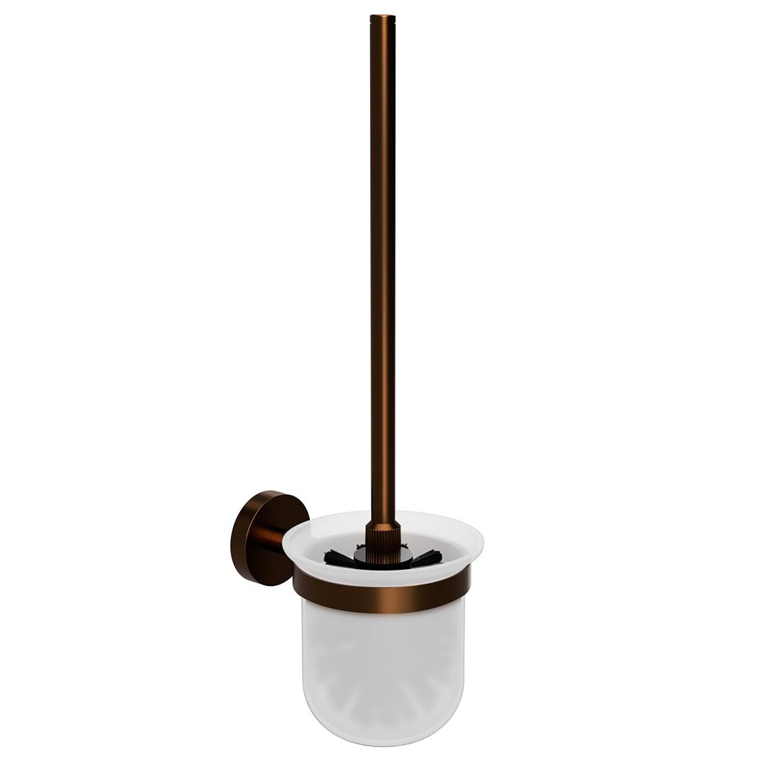 Toaletní WC štětka, mléčné sklo, coffee-gold