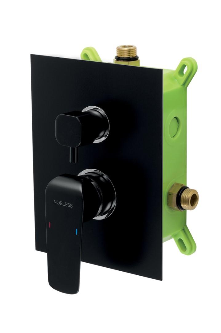 Vanová/sprchová podomítková baterie s boxem a s keramickým přepínačem pro 2 vývody, černý mat