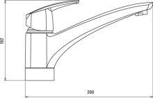 Stojánková dřezová baterie, chrom, délka výtokového ramínka 210mm, série Metalia 56