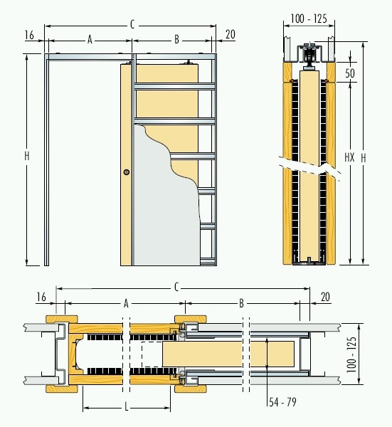 Jednokřídlé pouzdro do sádrokartonu 60cm, průchod bez obložek 67cm, celkem šířka 132,1cm, série 01.Jednokřídlé