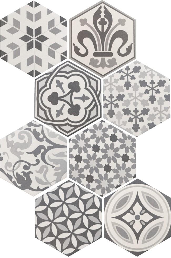 Obklad/dlažba Hexatile Harmony B & W 17,5x20cm, mat