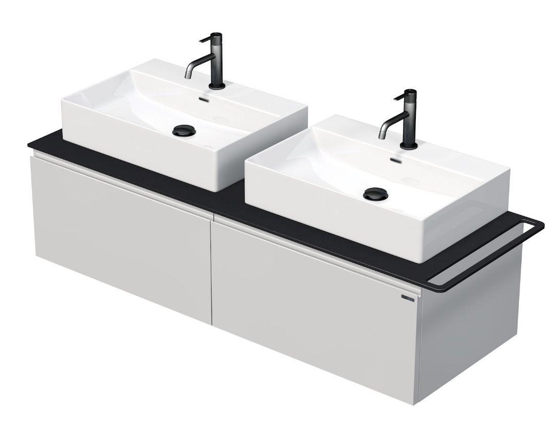 Skříňka 120x50,5x50 cm se 2 umyvady 50x42x13 cm a se 2 zásuvkami