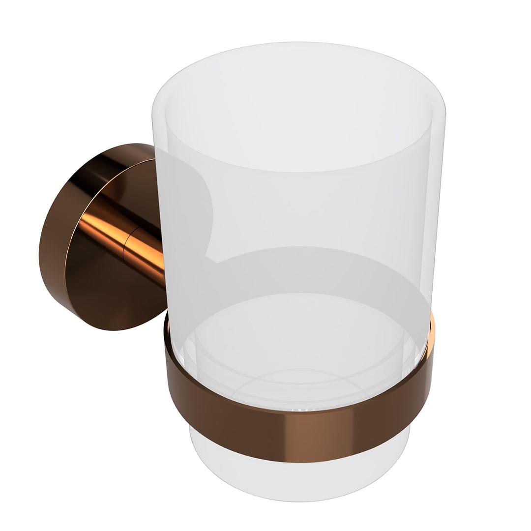 Držák na kartáčk, skleněný, coffee-gold