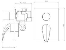 Vanová a sprchová podomítková baterie s přepínačem, chrom, série Metalia 55
