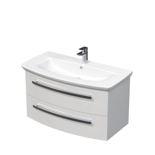 Spodní skříňka s umyvadlem závěsná, bílá lesk, 1005x520x560 mm