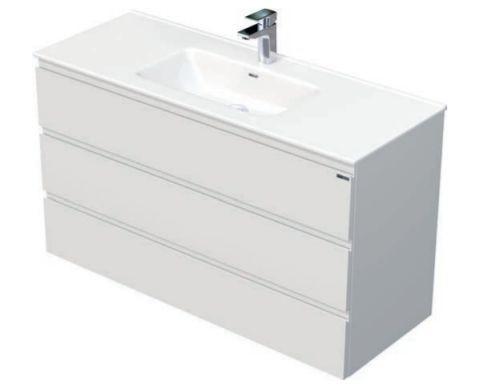 Skříňka s umyvadlem a se 3 zásuvkami, 121x46x70,5 cm