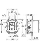 Univerzální podomítkové těleso termostatické Rapido T, bez montážních dílů, série Grohtherm 2000