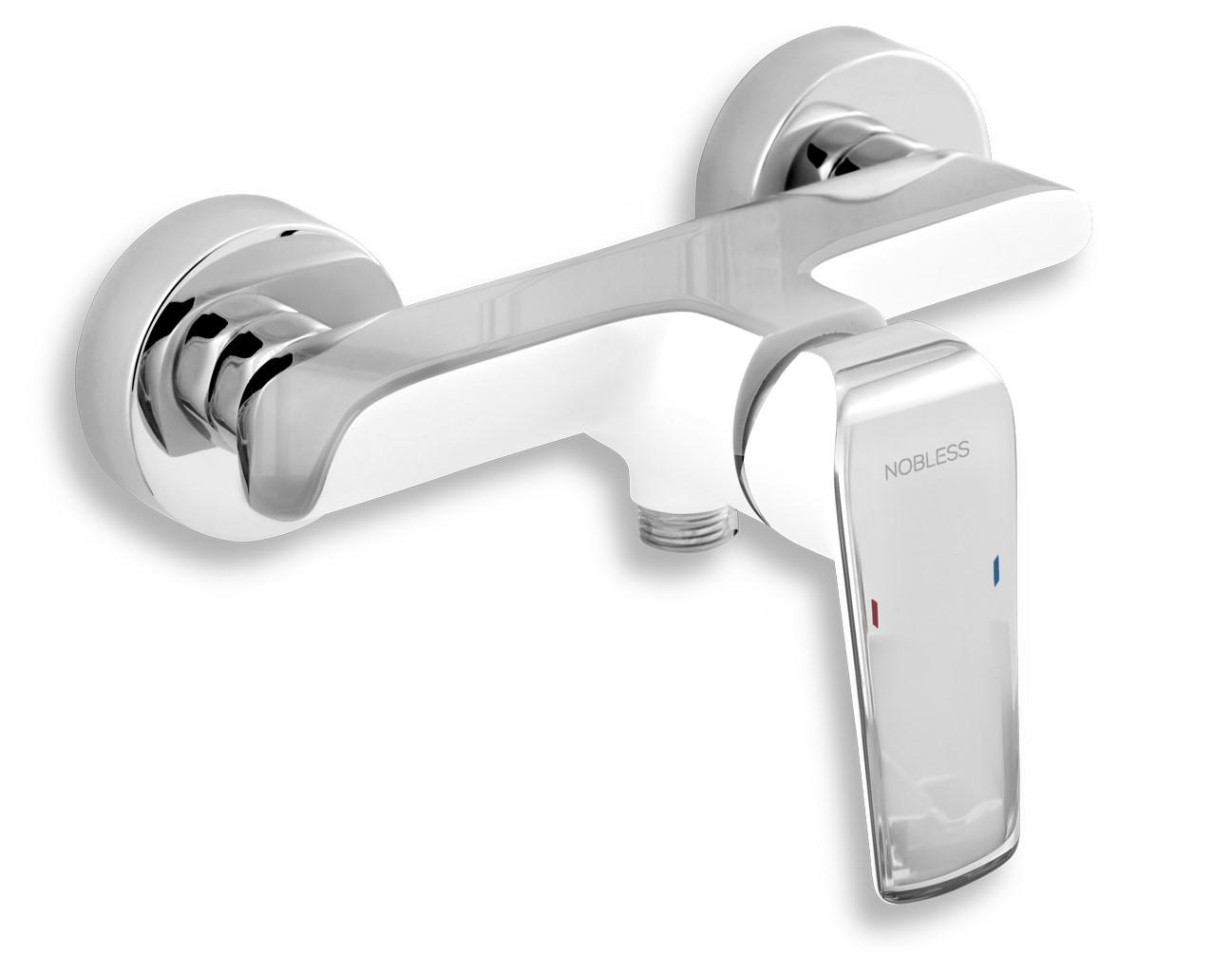 Nástěnná sprchová baterie se spodním přívodem vody, bez příslušenství, bílá/chrom