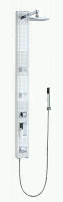 Nástěnný hranatý sprchový panel, 146x13x6,5cm, bílá, série Magma
