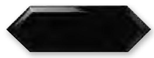 Obklad Cupidón Negro Brillo Bisel, 10x30 cm, lesk s fazetou