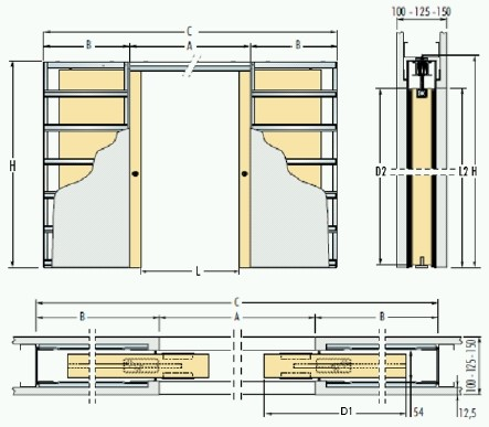 Dvoukřídlé pouzdro do sádrokartonu 70+70cm, průchod 127cm, celkem šířka 281cm, série Dvoukřídlé