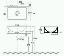 Umývátko 40x23x11,5cm, série Quattro