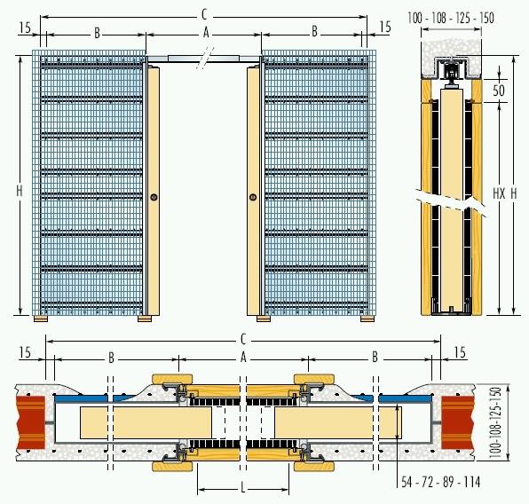 Dvoukřídlé pouzdro do zdiva 100+100cm, průchod pro obložky 212,5cm, celkem šířka 420,5cm, série Dvoukřídlé