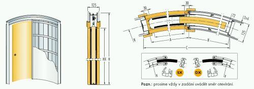 Pouzdro do sádrokartonu 100cm, průchod 105,5cm, celkem šířka 176cm, síla stěny 12,5cm, série 01.Jednokřídlé