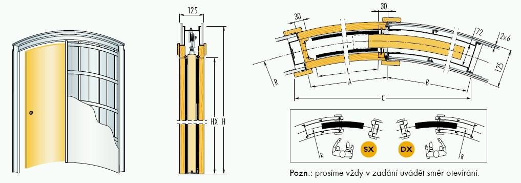 Pouzdro do sádrokartonu 90cm, průchod 94cm, celkem šířka 165cm, síla stěny 12,5cm, série 01.Jednokřídlé
