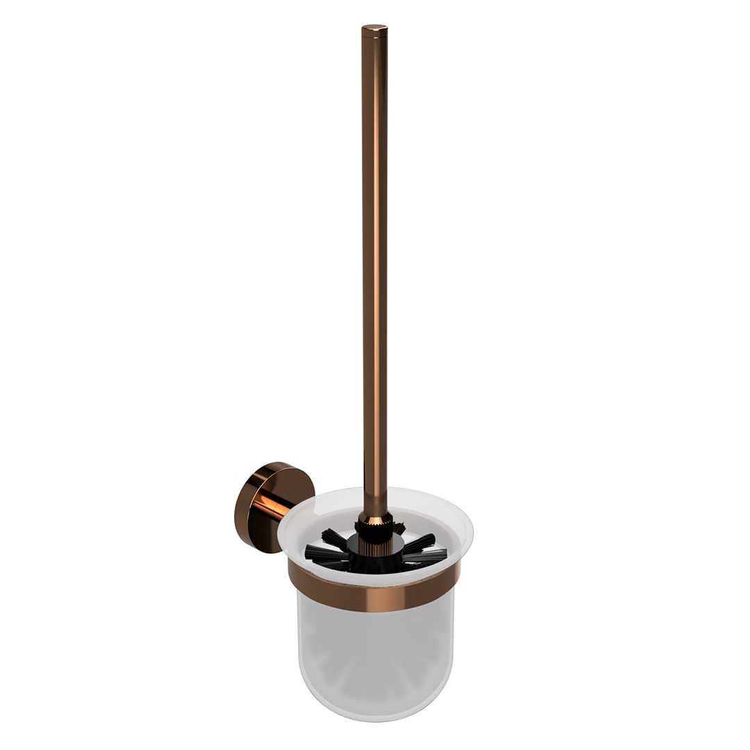 Toaletní WC štětka, skleněná nádobka, coffee-gold