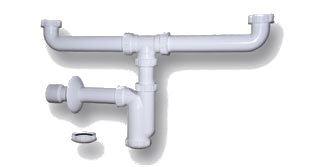 Sifon univerzální k dvojumyvadlu nebo dvojdřezu pro úsporu místa 5/4, 6/4, série Spodní umyvadlové sifony