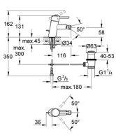 Bidetová stojánková baterie s výpustí, chrom, série Concetto New