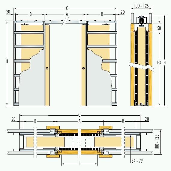 Dvoukřídlé pouzdro do sádrokartonu 70+70cm, hrubý průchod 152,5cm, celkem šířka 299,5cm, série Dvoukřídlé