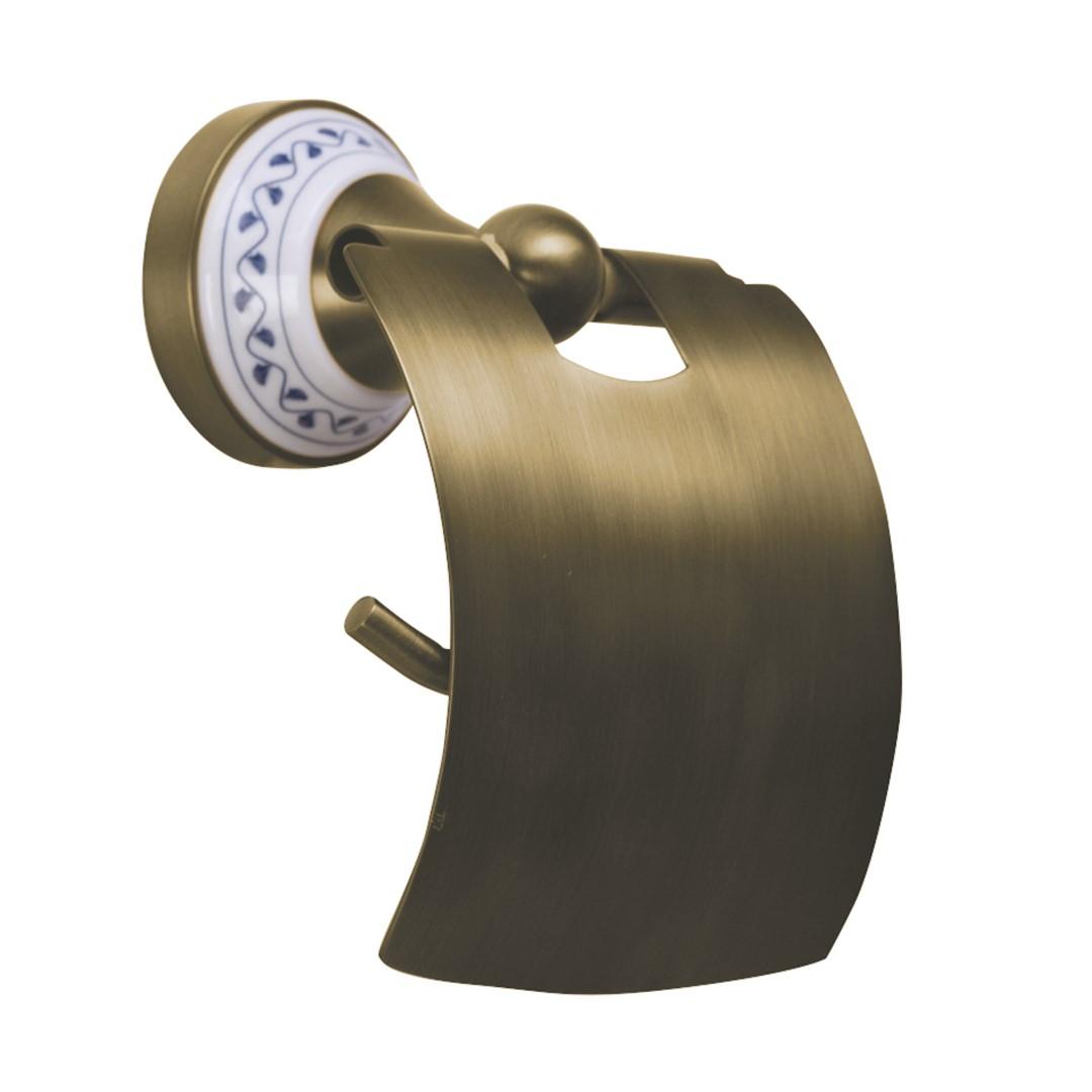 Držák na toaletní papír s krytem, bronz