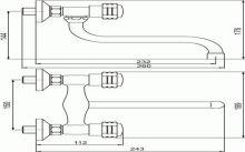 Dřezová nebo umyvadlová nástěnná baterie, chrom, rozteč vývodů 150mm, série Nástěnné dřezové baterie,Retro I