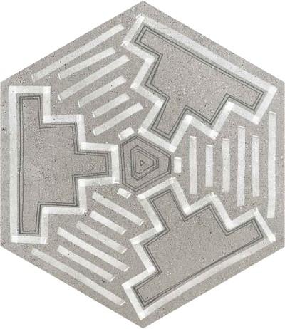 Dlažba Hexagono Igneus Cemento mix, 23x26,6cm, série Rift