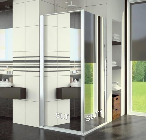 Boční stěna 80 cm, sklo zrcadlové s úpravou Aquaperle, rám aluchrom