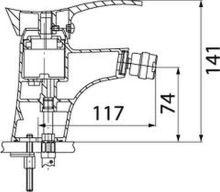 Stojánková bidetová baterie, chrom, s uzávěrem výpusti 5/4, série Padwa