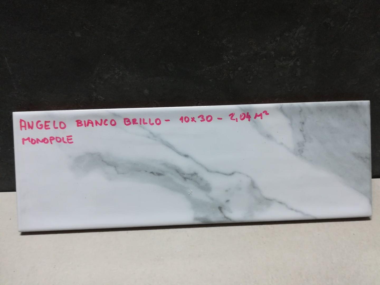 Obklad Angelo Bianco Brillo 10x30 cm