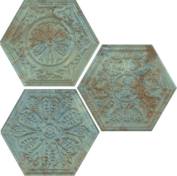 Obklad Hexagon Mix Decor Green 25x29 cm, mat