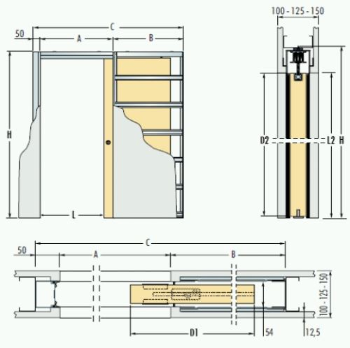 Jednokřídlé pouzdro do sádrokartonu 103,5cm, průchod 111,5cm, celkem šířka 225,5cm, série 01.Jednokřídlé