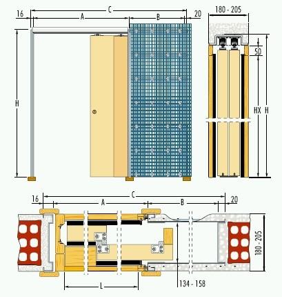 Pouzdro do zdiva 70+70cm, hr.průchod 151,5cm, celkem šířka 227,6cm,síla stěny 18cm, série Teleskop