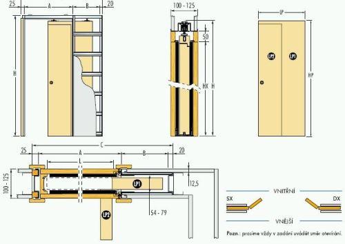 Pouzdro do sádrokartonu 70cm, průchod 75cm, celkem šířka 121cm, síla stěny 12,5cm, série 01.Jednokřídlé