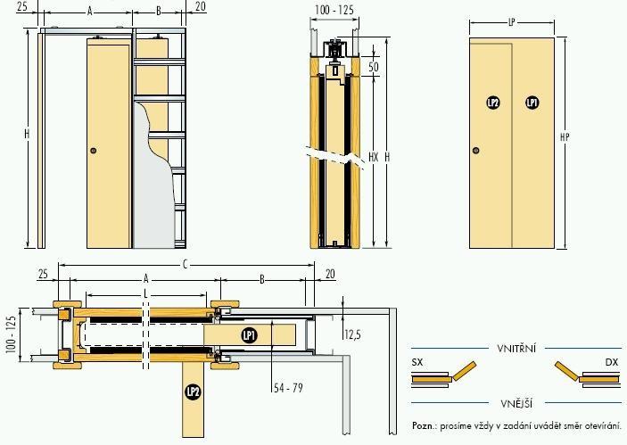 Pouzdro do sádrokartonu 100cm, průchod 105cm, celkem šířka 161cm, síla stěny 12,5cm, série 01.Jednokřídlé