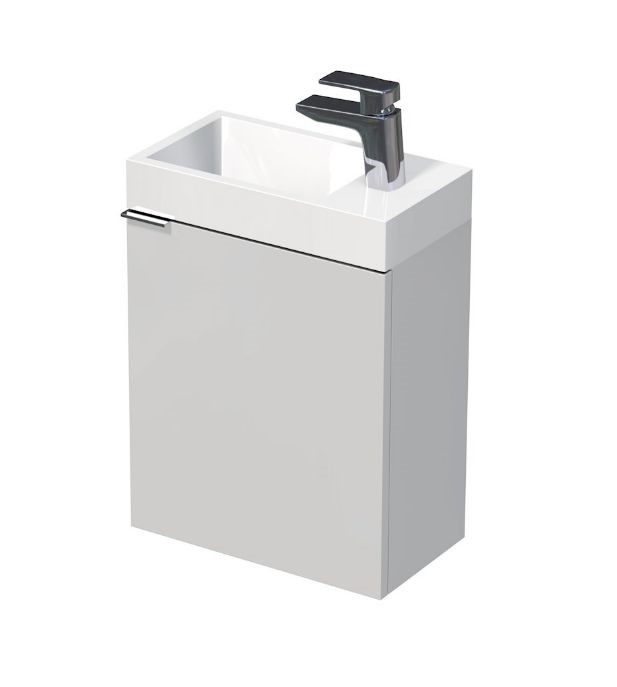 Skříňka s umyvadlem z umělého mramoru 41x22,5x49 cm, pravá