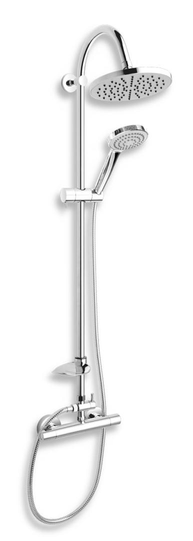 Nástěnná sprchová souprava + sprchová termostatická baterie, rozteč 150 mm, chrom