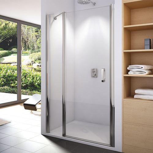 Jednokřídlé dveře s pevnou sěnou v rovině, šířka 800-1200, výška do 1950mm, sklo čiré Aquaperl, montáž na dlažbu