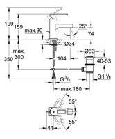Umyvadlová stojánková baterie s výpustí, chrom, série Quadra
