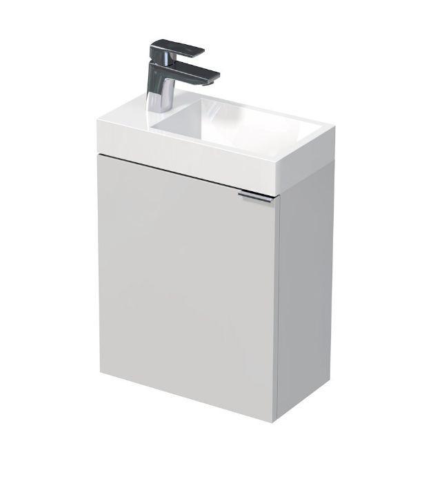Skříňka s umyvadlem z umělého mramoru 41x22,5x49 cm, levá