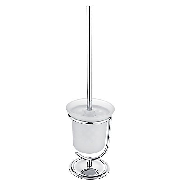 Stojánkový WC kartáč, Nádobka z matovaného skla, WC kartáč kovový