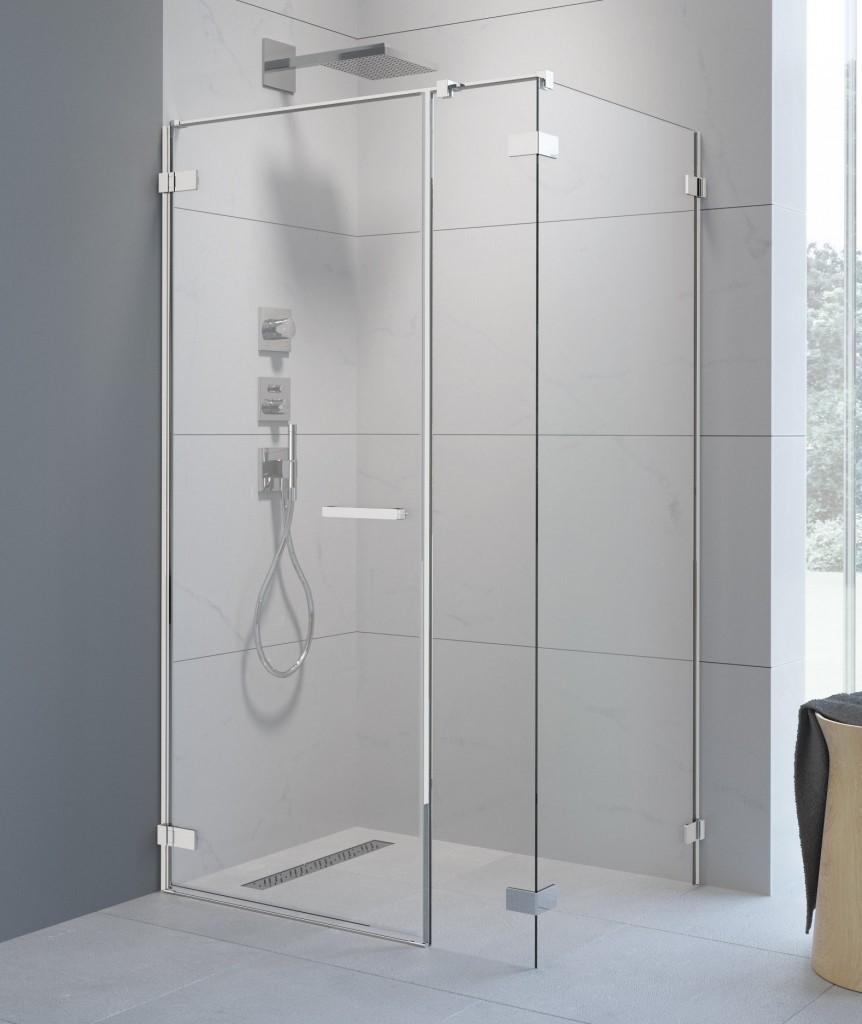 Obdelníkový sprchový kout, 100x110 cm, kyvné dveře, bezrámový