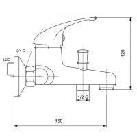Vanová nástěnná baterie, bílá-chrom, rozteč přívodů 150mm, série Metalia 55