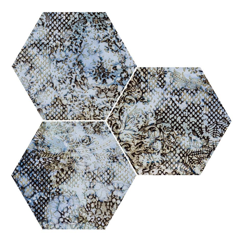 Obklad/dlažba Hexagon Blue 25x29 cm, pololesk