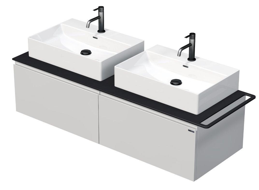 Skříňka 140x50,5x50 cm se 2 umyvady 60x42x13 cm a se 2 zásuvkami