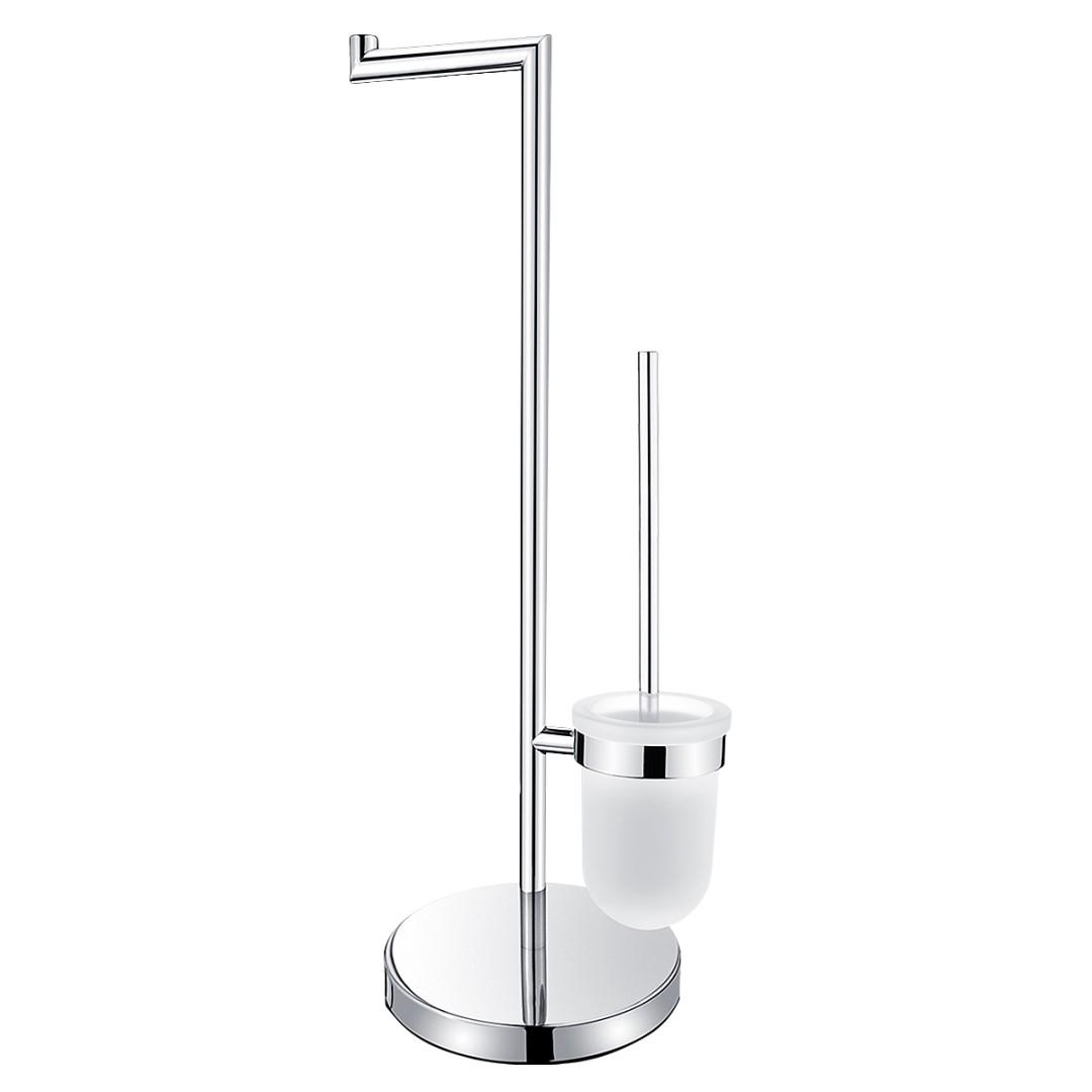 Stojánkový WC set, WC kartáč s držákem na toaletní papír, Nádobka nízká z matovaného skla