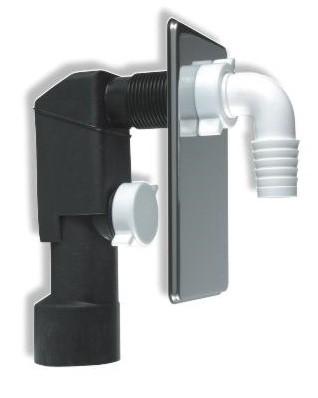 Sifon pračkový podomítkový, chromová destička+kolínko, série Pračkové sifony