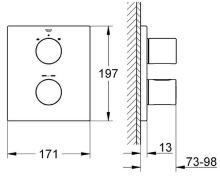 Termostatická podomítková vanová baterie, chrom, (nutno použít těleso Rapido T), série Grohtherm 3000