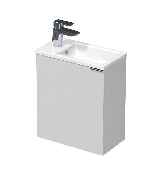 Skříňka s keramickým umyvadlem 41x22,5x49 cm, levá