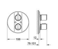 Termostatická podomítková vanová baterie, chrom, (nutno použít těleso Rapido T), série Grohtherm 2000