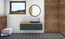 Barevný grafický návrh koupelny, případně WC ve 3D + technický návrh